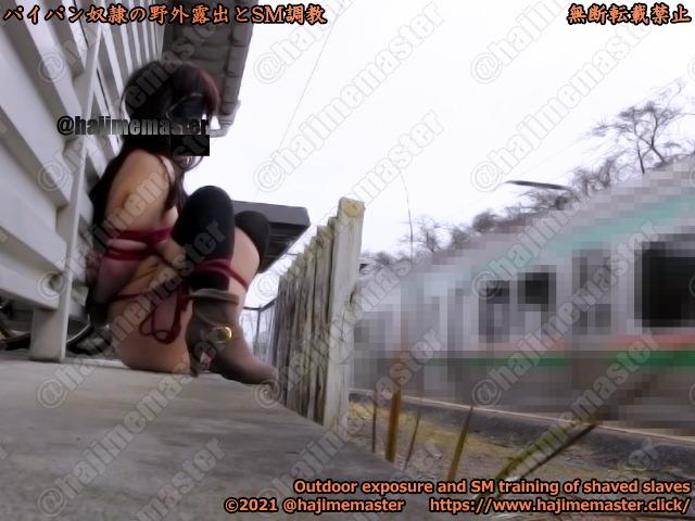 パイパン奴隷由衣の野外露出調教動画|緊縛して後ろ手に縛って白昼の駅のホームで電車に露出
