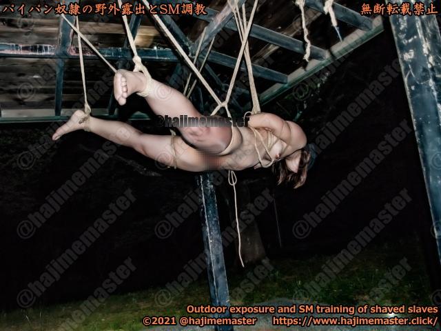 パイパン奴隷美羽の野外露出調教|公開調教で目隠しして東屋で吊り